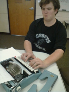 Students brought typewriters to self-started creative writing group.